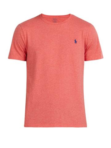 Matchesfashion.com Polo Ralph Lauren - Logo Embroidered Cotton T Shirt - Mens - Red