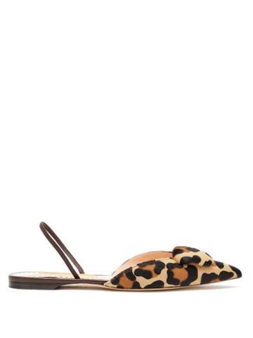 Matchesfashion.com Rupert Sanderson - Sabine Slingback Leopard Print Calf Hair Pumps - Womens - Leopard