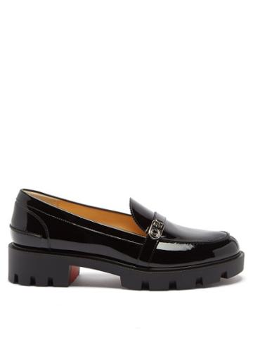 Christian Louboutin - Lock Woody Patent-leather Loafers - Womens - Black