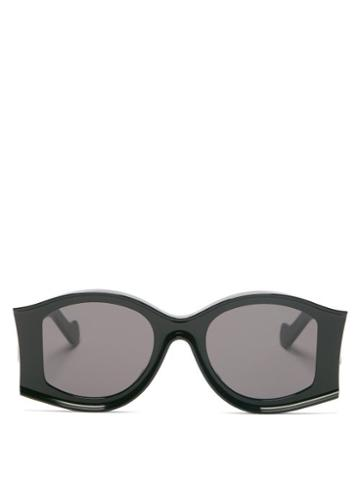 Matchesfashion.com Loewe Paula's Ibiza - Oversized Round Acetate Sunglasses - Womens - Black