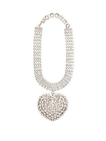 Matchesfashion.com Alessandra Rich - Crystal Heart Pendant Choker - Womens - Crystal