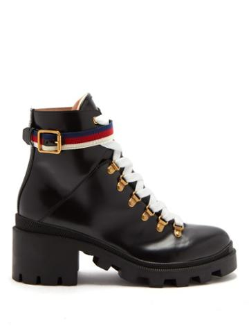 Matchesfashion.com Gucci - Trip Leather Boots - Womens - Black