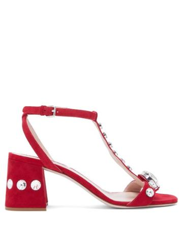 Matchesfashion.com Miu Miu - Gobstopper Crystal Embellished Suede Sandals - Womens - Red