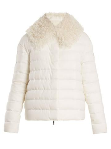 Matchesfashion.com Moncler - Shearling Trimmed Quilted Down Cashmere Jacket - Womens - Cream