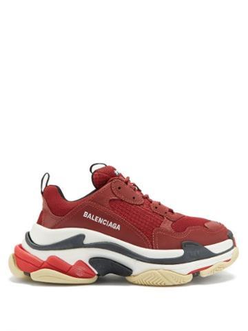 Matchesfashion.com Balenciaga - Triple S Leather And Mesh Trainers - Womens - Burgundy