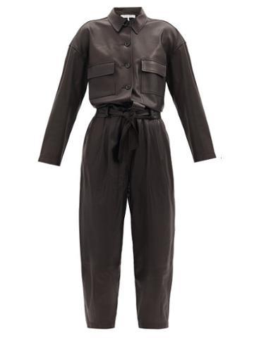 Matchesfashion.com Frame - Belted Leather Jumpsuit - Womens - Black