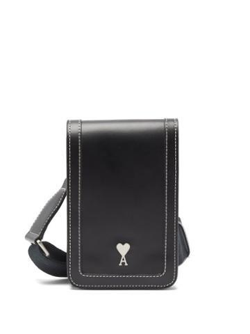Matchesfashion.com Ami - Ami De Caur-plaque Leather Cross-body Bag - Mens - Black