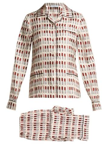 Matchesfashion.com Prada - Lipstick Print Silk Pyjama Set - Womens - White Print