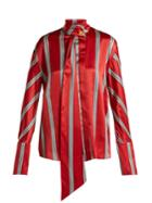 Roksanda Mila Pussybow Striped Silk Blouse