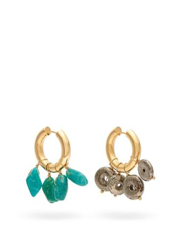 Matchesfashion.com Timeless Pearly - Mismatched Hoop Earrings - Womens - Green