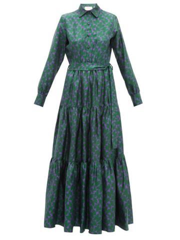 Matchesfashion.com La Doublej - Bellini Tiered Silk Twill Shirtdress - Womens - Green