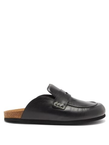 Jw Anderson - Backless Leather Penny Loafers - Mens - Black