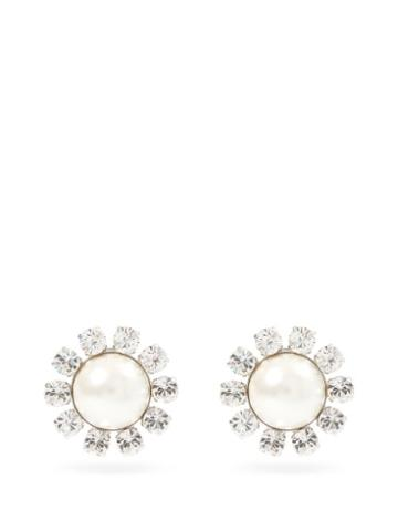 Matchesfashion.com Alessandra Rich - Crystal & Faux-pearl Clip Earrings - Womens - Pearl