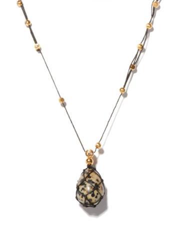 Matchesfashion.com Bottega Veneta - Spotted-stone Gold-plated Necklace - Womens - Black White