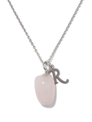 Matchesfashion.com Raf Simons - Logo-charm And Rose-quartz Necklace - Womens - Pink