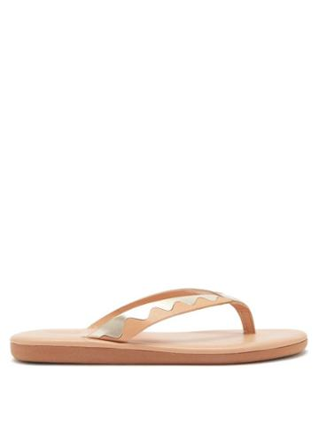 Matchesfashion.com Ancient Greek Sandals - Ammos Upcycled-leather Flip Flops - Womens - Tan Gold