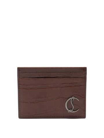 Christian Louboutin - Kios Croc-effect Leather Cardholder - Mens - Brown