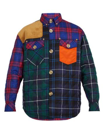 Versace Contrast-panel Checked Wool-blend Shirt