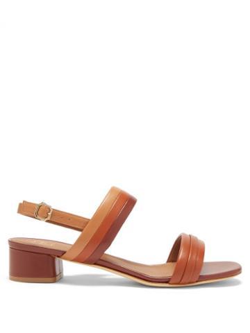 Malone Souliers - Sana Block-heel Leather Slingback Sandals - Womens - Tan Multi