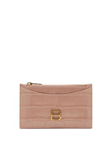 Balenciaga - Hourglass Zipped Croc-effect Leather Cardholder - Womens - Beige