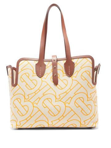 Matchesfashion.com Burberry - Tb-print Leather-trimmed Cotton Tote Bag - Womens - Orange Multi