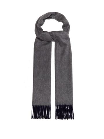 Matchesfashion.com Begg & Co. - Aaran Two Tone Fringed Cashmere Scarf - Mens - Navy Multi