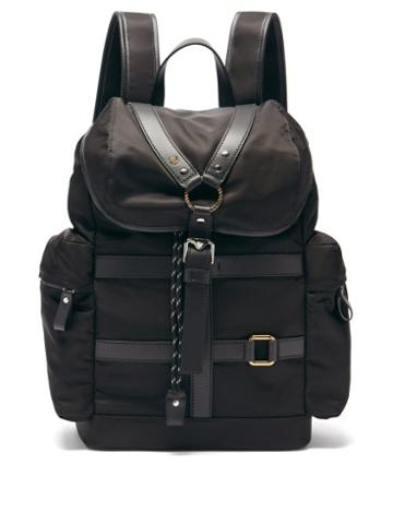 Matchesfashion.com Versace - Harness-front Leather-trim Canvas Backpack - Mens - Black
