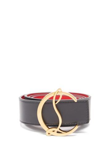 Matchesfashion.com Christian Louboutin - Monogram-buckle Leather Belt - Womens - Black