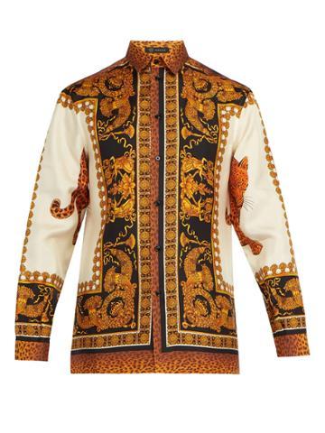 Versace Baroque Leopard-print Silk-twill Shirt
