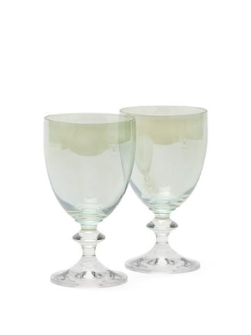 Matchesfashion.com Luisa Beccaria - Set Of Two Baluster Stem Wine Glasses - Green