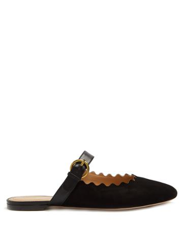 Chloé Lauren Scallop-edge Suede Backless Loafers