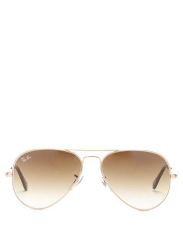 Ray-ban - Aviator Metal Sunglasses - Womens - Brown