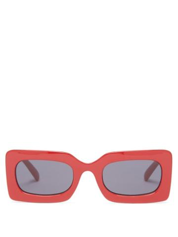 Le Specs X More Joy - Rectangular Recycled Sunglasses - Womens - Red