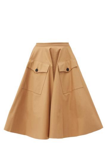 Matchesfashion.com Rochas - Passiflora Cotton Blend Gabardine Midi Skirt - Womens - Beige