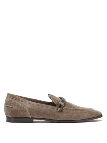 Matchesfashion.com Brunello Cucinelli - Monili-chain Suede Loafers - Womens - Beige