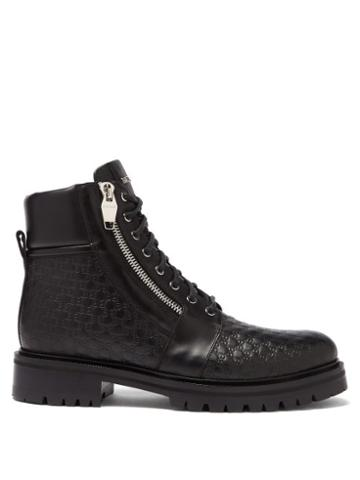 Matchesfashion.com Balmain - Monogram-debossed Leather Ranger Boots - Mens - Black