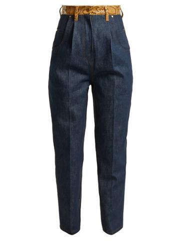 Hillier Bartley Faux Snakeskin-trim Jeans