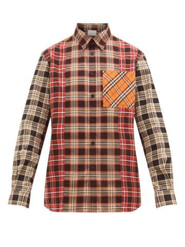 Matchesfashion.com Burberry - Contrast Panelled Nova Check Cotton Poplin Shirt - Mens - Beige Multi