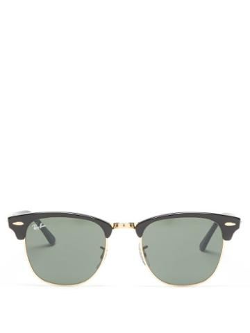 Ray-ban - Clubmaster Square Acetate And Metal Sunglasses - Womens - Black Gold