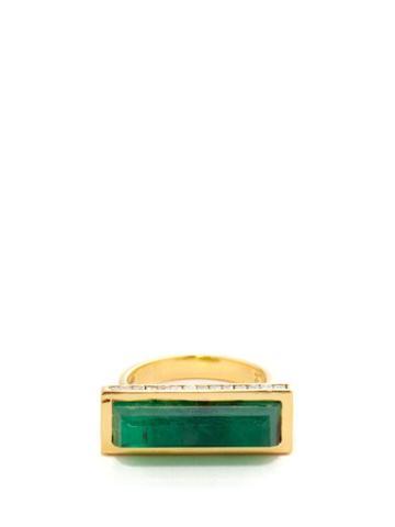 Jade Jagger - Neverending Diamond, Emerald & 18kt Gold Ring - Womens - Green Gold