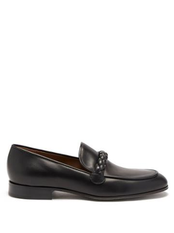 Gianvito Rossi - Belem Braided-strap Leather Loafers - Mens - Black