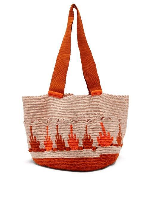 Matchesfashion.com Sophie Anderson - Hoyas Woven Tote Bag - Womens - Orange Multi