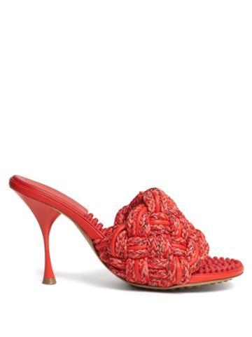 Matchesfashion.com Bottega Veneta - The Lido Intrecciato Bubble-insole Mules - Womens - Red