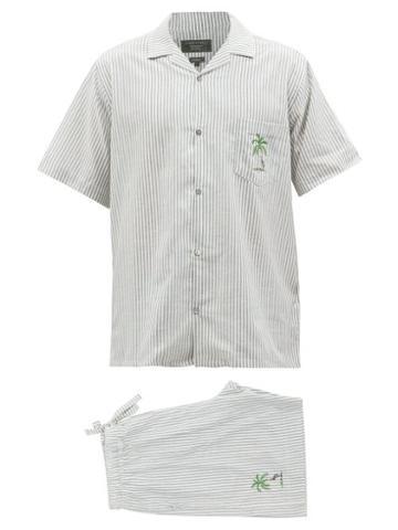 Desmond & Dempsey - Striped Cotton-oxford Pyjama Set - Mens - Blue White