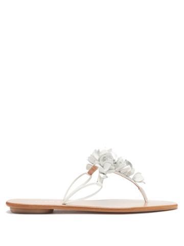 Matchesfashion.com Aquazzura - Bougainvillea Floral-appliqu Leather Flip Flops - Womens - White Multi