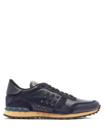 Matchesfashion.com Valentino - Rockstud Embellished Suede Trainers - Mens - Navy Multi