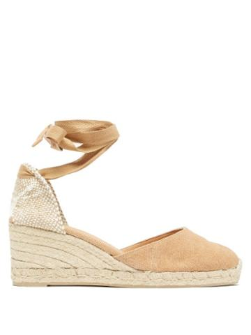 Matchesfashion.com Castaer - Carina 60 Canvas And Jute Espadrille Wedges - Womens - Light Tan