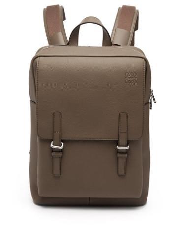 Loewe - Military Grained-leather Backpack - Mens - Dark Beige
