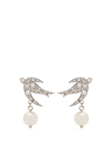 Miu Miu Embellished Bird Sterling-silver Earrings