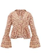 Matchesfashion.com Dodo Bar Or - Enid Floral Print Crochet Insert Cotton Shirt - Womens - Cream Print